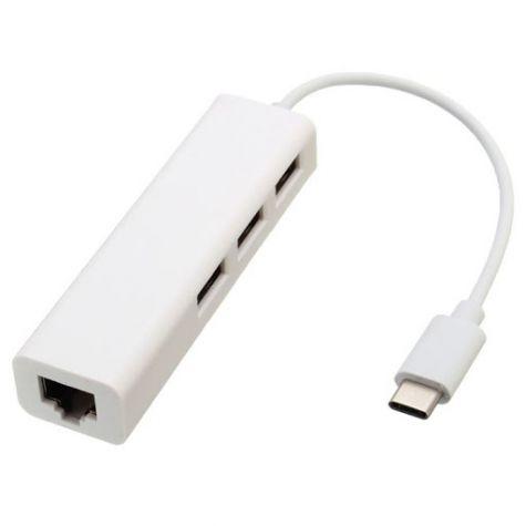 ADAPTADOR TIPO-C MACHO X RJ45 + 3P USB 2.0 HUB