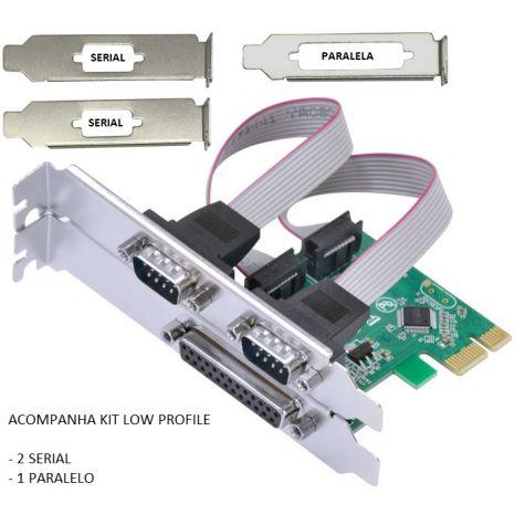 PLACA PCI-EXPRESS 2SERIAIS 1PARALELO (C/ KIT LOW PROFILE)
