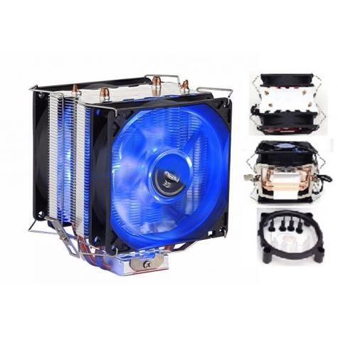 COOLER UNIVERSAL P/ INTEL / AMD COM LED AZUL DX-9100D (2 FAN)